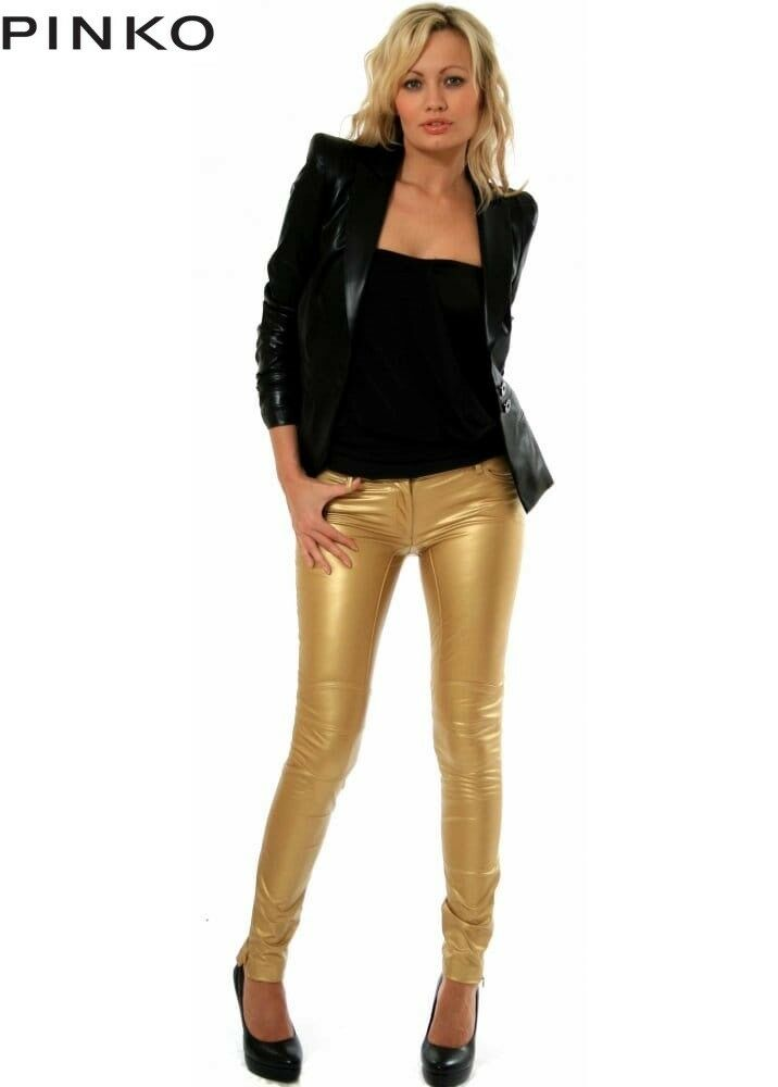 RosaO RosaO RosaO Gold Stretch Eco Leather Jeans Trousers Pants - W30 L30 60c58a