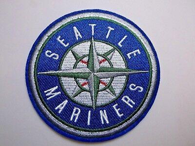 Seattle Mariners Patch Ricamato ~ 8.9cm Rotondo ~ Iron Da Cucire ~ Mlb ~ Navi
