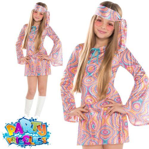 Teen Disco Diva Girl Costume 1970s Hippy Chick 70s Fancy Dress Child Girls