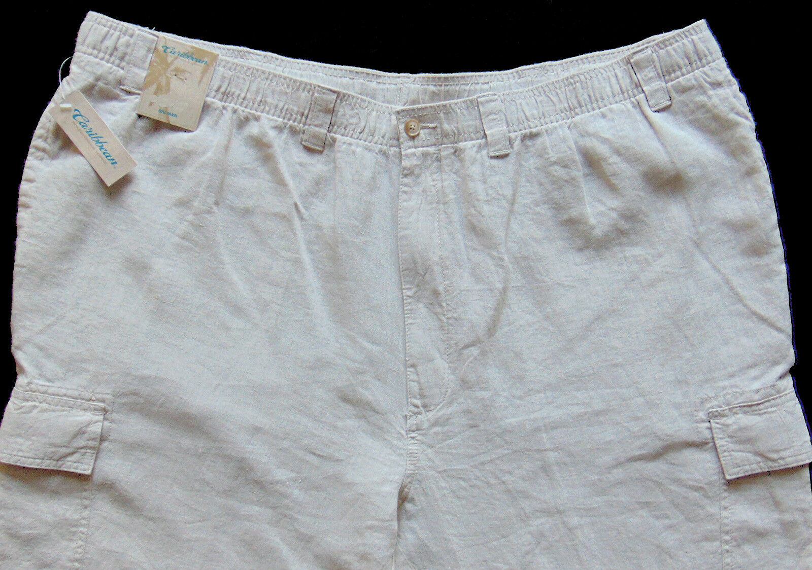 Men's CARIBBEAN Natural Light Khaki LINEN Drawstring Pants 38x30 NEW NWT Cargo