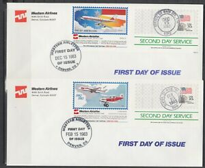 US-1983-Western-Airlines-Semi-Official-Air-Letters-2-different-FDCs