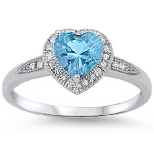 halo style aquamarine cz promise ring 925 sterling