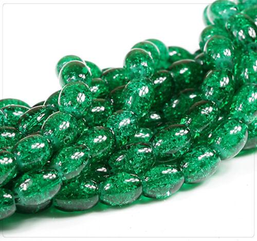 Crackle Perles De Verre Beads Bijoux À faire soi-même Bricolage 11x8mm Olive Vert gb220 75 Pcs