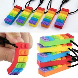 Rainbow-Brick-Chew-Baby-Kids-Silicone-Teether-Autism-Sensory-Chewy-Toy-Necklaces