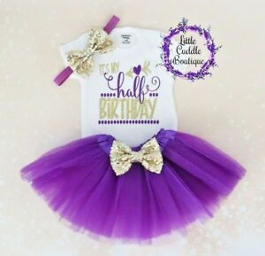 128ee0691 Half Birthday Baby Tutu Outfit, 6 Month Outfit, 1/2 Birthday Photo ...