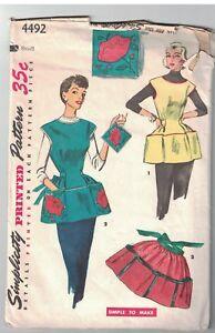 4492 Vintage Simplicity Patron Couture Femmes Tablier Cobbler Demi ...