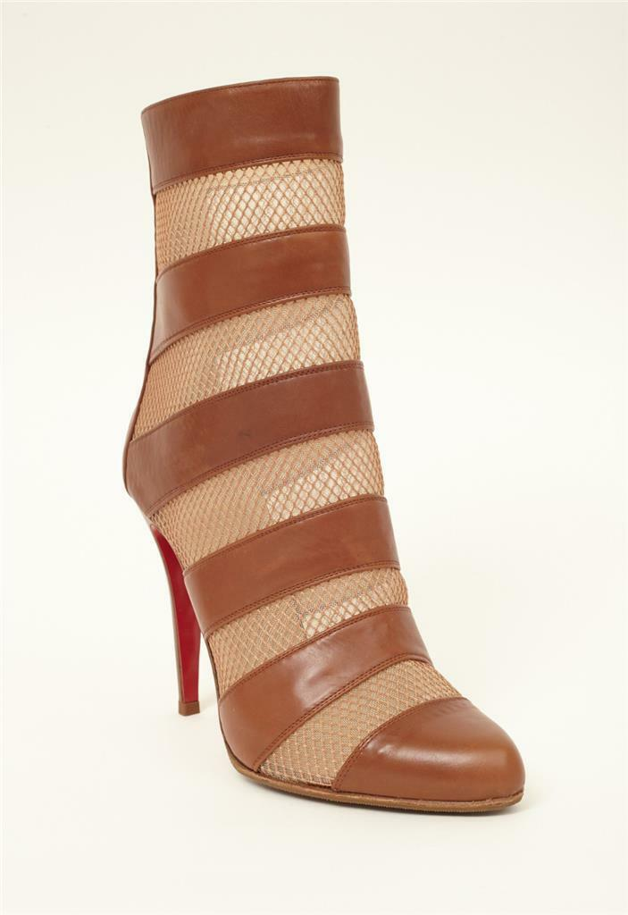 CHRISTIAN LOUBOUTIN Tan Brown VIZU 100 Leather Striped Mesh Mesh Mesh Boot Bootie 9-39 5b6904