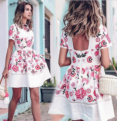 Fashion Women Floral Print Short Sleeve Clubwear Evening Party Short Mini Dress
