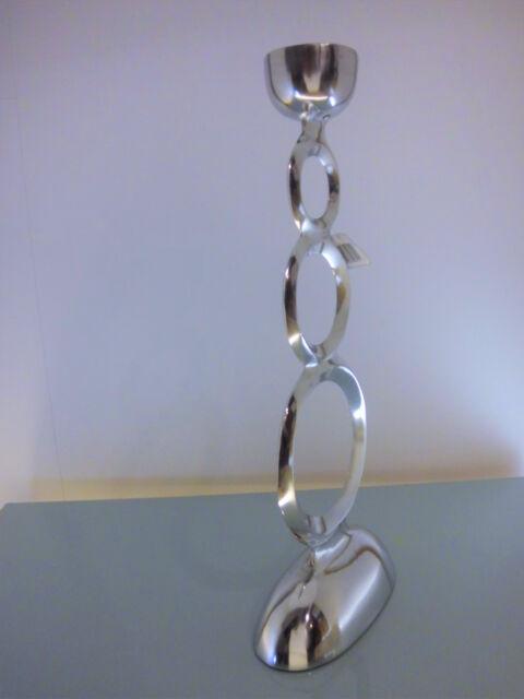Kerzenständer Säule  Kerzenhalter  Metall Silber 51 cm
