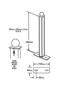 Metal-POST-ball-top-50x50x500mm-Bolt-Down-blank-posts-wrought-iron-BP50X500B