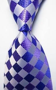 New-Classic-Checks-Purple-White-JACQUARD-WOVEN-100-Silk-Men-039-s-Tie-Necktie