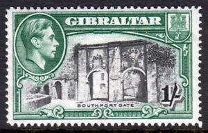 Gibraltar-KGVI-1938-1-1s-Black-Green-SG127-Mint-Lightly-Hinged