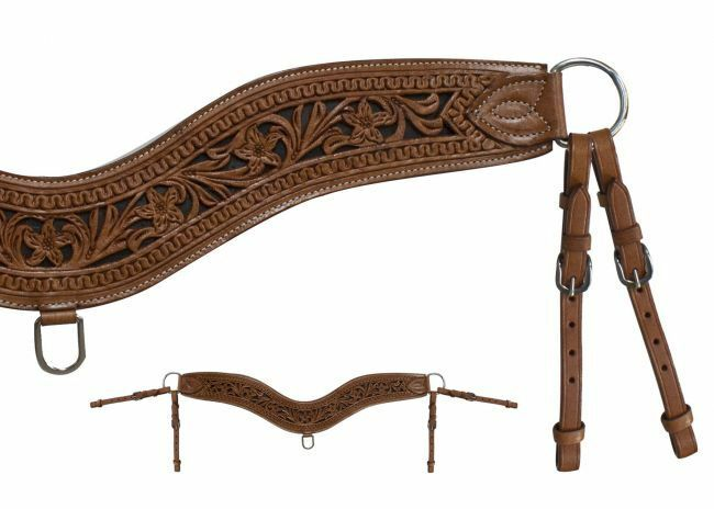 Showman TRIPPING COLLAR Floral Tooled Medium Oil Leather  30.5  Long x 4  Wide  customers first