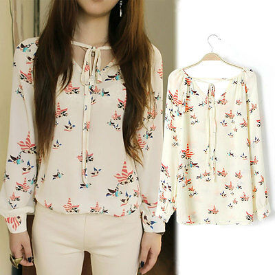 Fashion Chiffon Floral Print T Shirt Blouse Long Sleeve Women Tops Casual Shirt