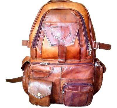 Real leather large backpack rucksack briefcase travel bag handmade BIG OVERNIGHT