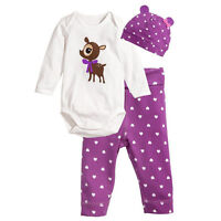 3pcs Infant Boys Girls Baby Cute Hat Romper Pants Trousers Outfits Clothing Sets