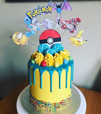 Outstanding Pokemon Pikachu And Others Etc Birthday Cake Topper Display Funny Birthday Cards Online Eattedamsfinfo