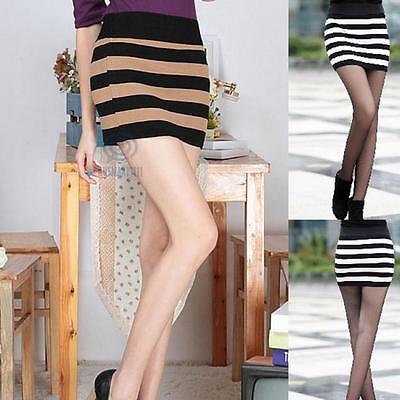 Sz AU 8 10 Sexy Bandeau Stripe Top Stretch Slim Bodycon Bandage Micro Mini Skirt