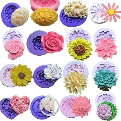 16 Sets Silicone Mould for Polymer Clay Cake Decorating Fondant Candy Chocolat