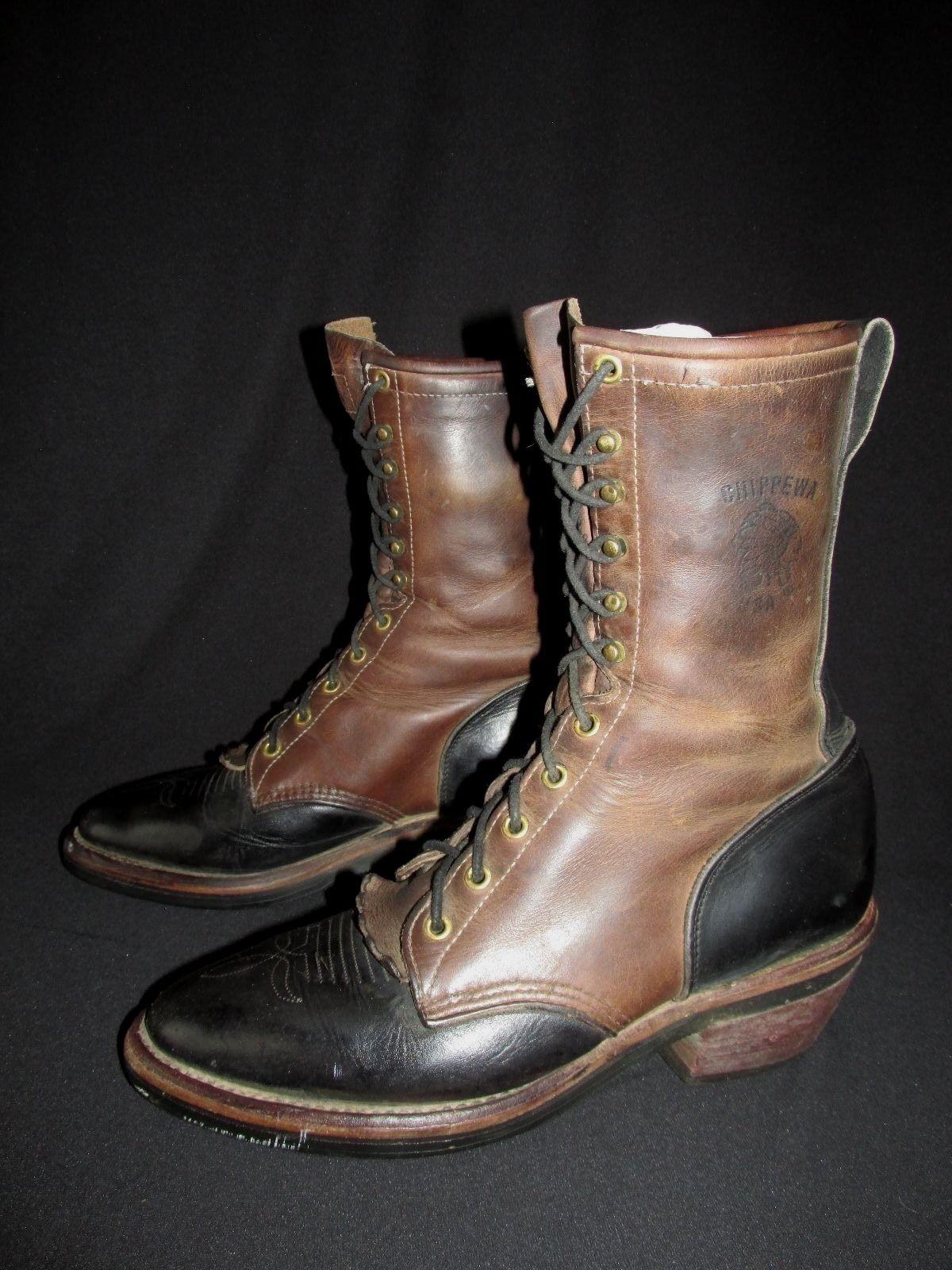 Chippewa Black Brown Kiltie Western Roper Packer Work Boot USA Men's US 8EE