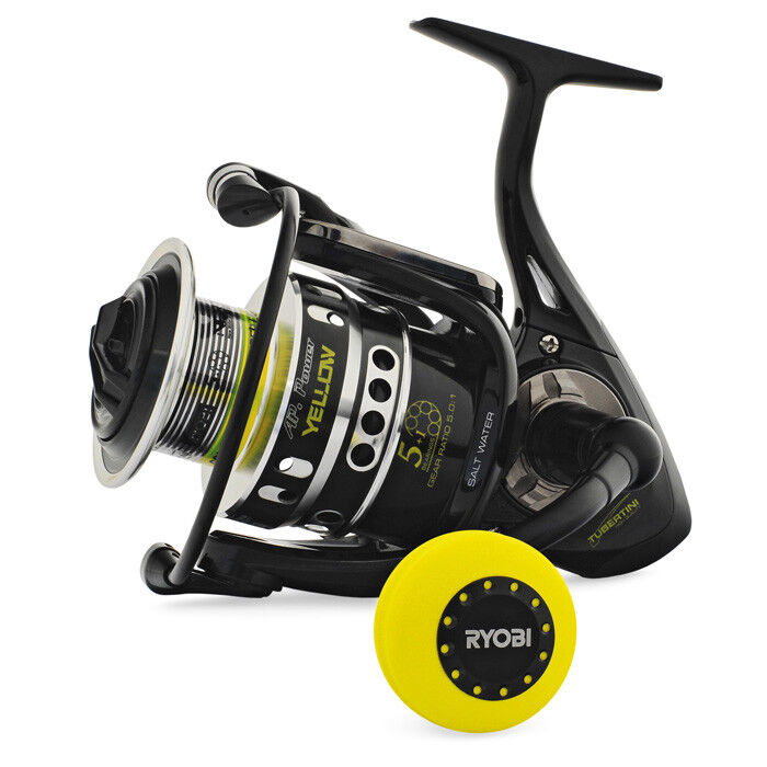 MULINELLO AP POWER YELLOW 8000 RYOBI TUBERTINI PESCA SPINNING 10 KG REEL