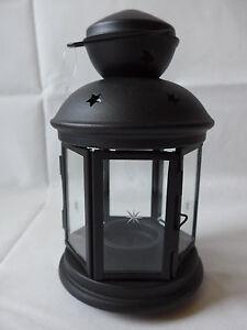 laterne schwarz 21 cm windlicht sterne teelichthalter metall glas deko ebay. Black Bedroom Furniture Sets. Home Design Ideas