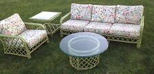Vintage Mid Century orig green Ficks Reed Rattan 4 p set sofa lounge chair table