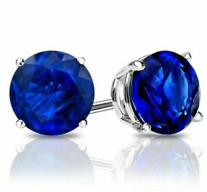 Estate-2-ctw-Cut-Blue-Sapphire-Round-Stud-Sterling-Silver-Earrings