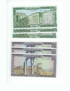 LEBANON-5-AND-10-LIVRE-3-OF-EACH-TOTAL-6-PCS-LOT-NICE-UNC
