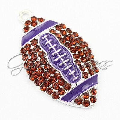 1PC 39*23mm Purple American Football Pendant For Bubblegum Chunky Bead Necklace