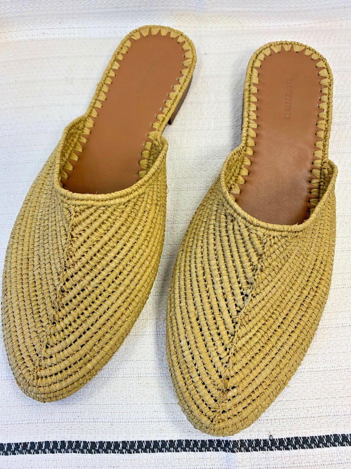Carrie Forbes Mimi Woven Raffia Slide Sandals, NIB, Mustard, Größe 41 (US 9.5)