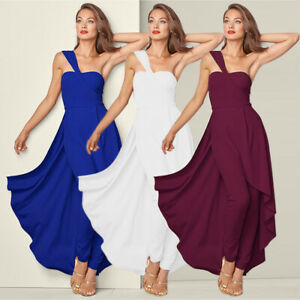 2019-Womens-One-Shoulder-Dress-Evening-Party-Cocktail-Jumpsuit-Ball-Gown-Fashion