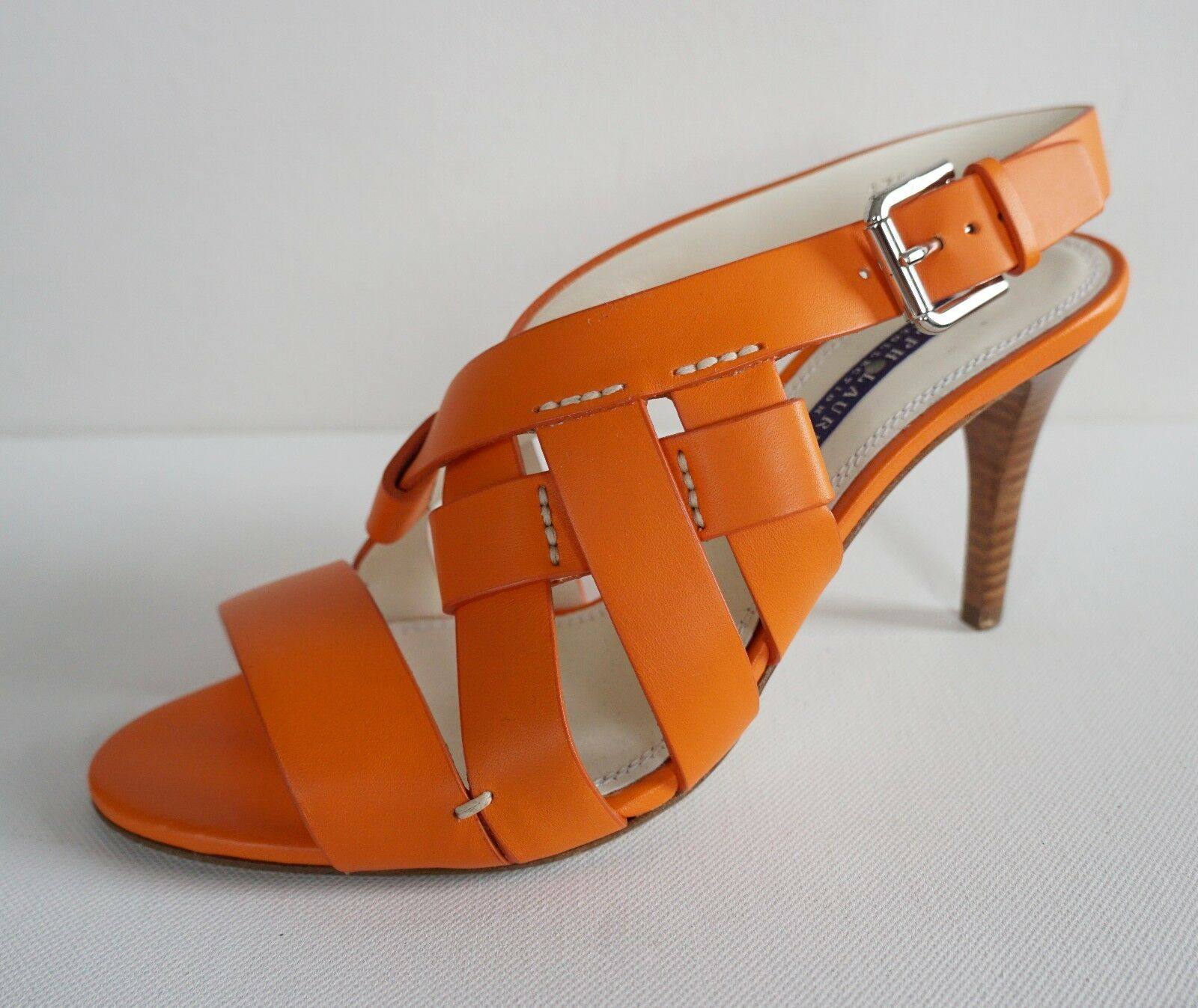 595 RALPH COLLECTION LAUREN COLLECTION RALPH Orange Leather Strappy Heel Sandals schuhe US-9.5B 45cefe