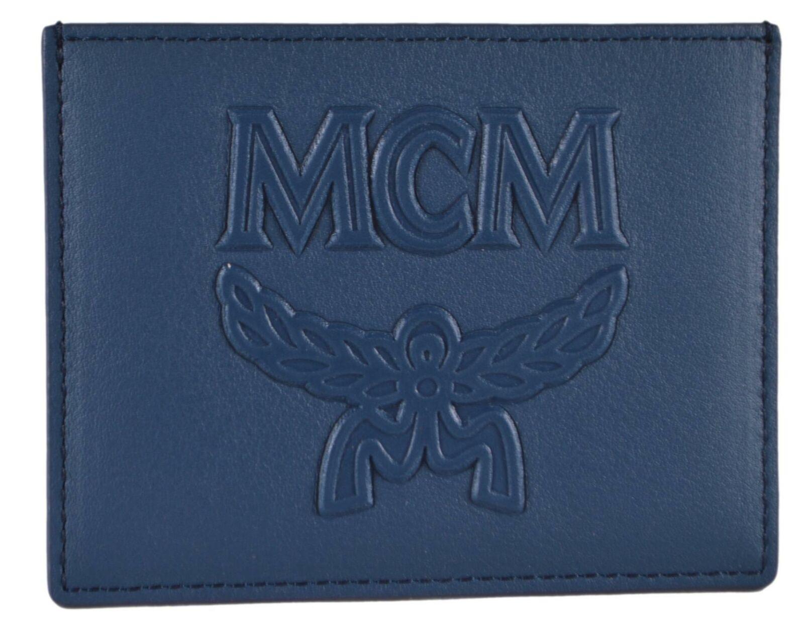 New MCM Blue Leather Visetos Logo Mini Card Case Wallet MXA9ACE23VS001