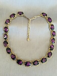 Vintage-Amethyst-Purple-Agate-Glass-Gold-Tone-Necklace-Victorian-Sphinx-Style
