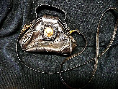 Damen-Handtasche mit Umhängeriemen , Leder , schwarz