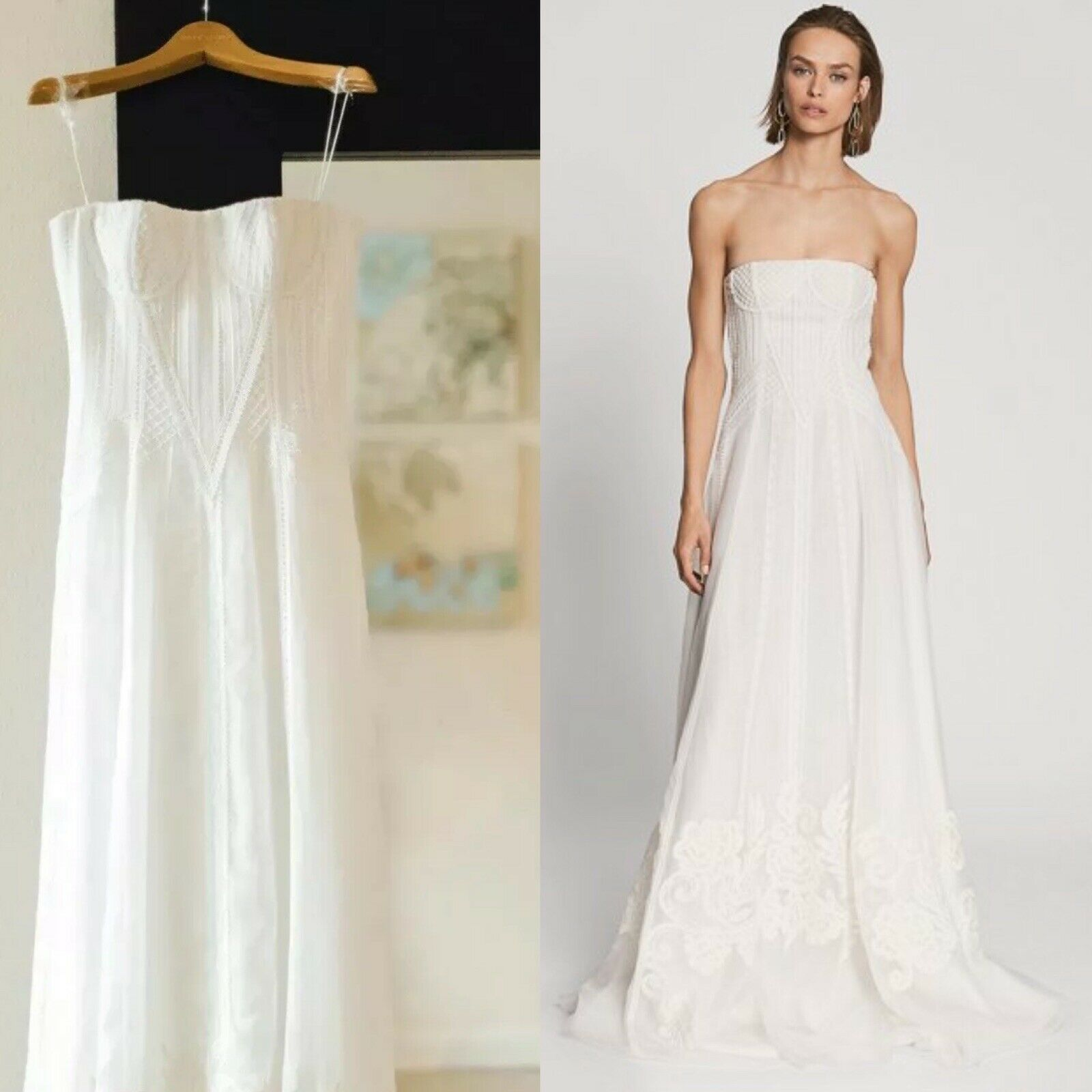 ,000 Ralph Lauren Collection Runway Lace Embroidered Wedding Dress Silk Gown