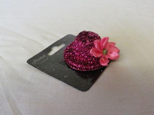 """Mini Hut mit Clip /""""Glitter mit Blume/""""  Karneval Maskenball Fasching NEU"""