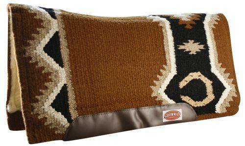 BLACK BROWN TEAL 34x36 New Zealand Wool Western Contoured Saddle Pad MEMORY FELT