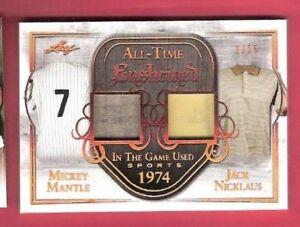 MICKEY-MANTLE-GAME-USED-JERSEY-amp-JACK-NICKLAUS-SHIRT-CARD-d1-15-LEAF-ENSHRINED