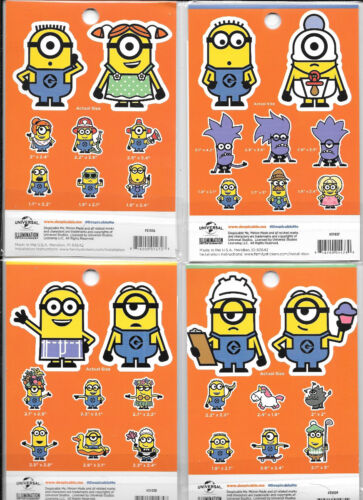 Despicable Me 32 Minion Peel Off Car Stickers Kit Collections #1-4 NEW SEALED