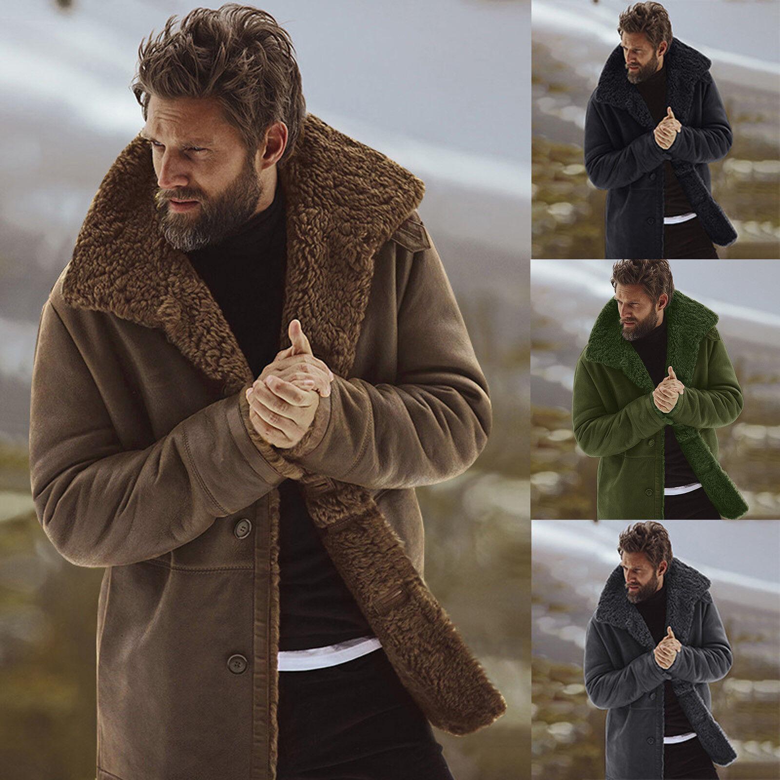 Para Hombres Lana Forrada De Piel Grueso Cuello con Solapa  Abrigo Chaqueta De Invierno Cálido Prendas de abrigo  se descuenta