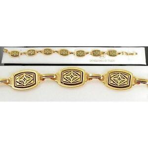 Damascene-Gold-Link-Bracelet-Rectangle-Geometric-by-Midas-of-Toledo-Spain-2056