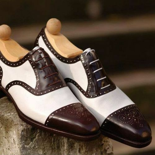 Cuero Hecha a Mano Dos Tonos corresponsal Oxfords para Hombres Hecho a Medida Hombres Zapatos