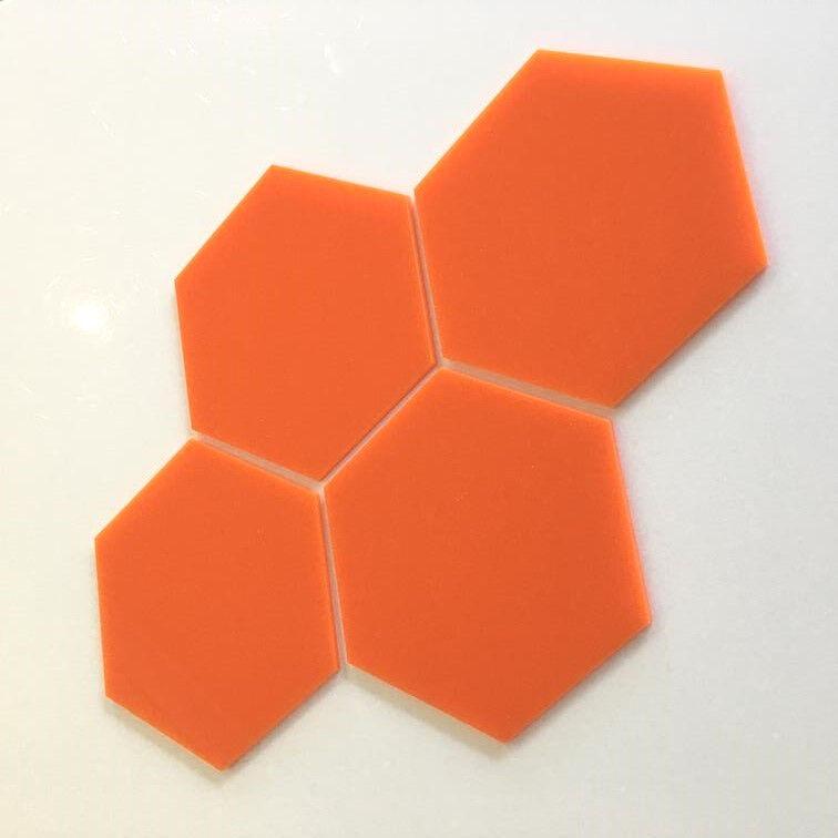 HEXAGONAL Acryl Wandfliesen - Orange