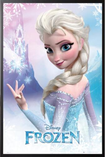 Disney Frozen Elsa the Snow Queen Poster Mounted in Black Wood Frame 24x36