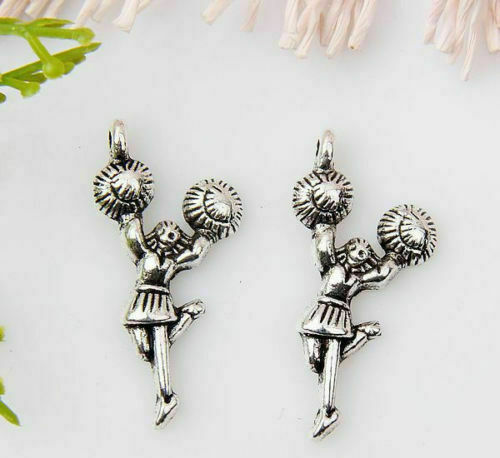 10pcs Tibetan Silver Charm Pendants Jewelry Supplies Flower 38x22x2mm Wholesale