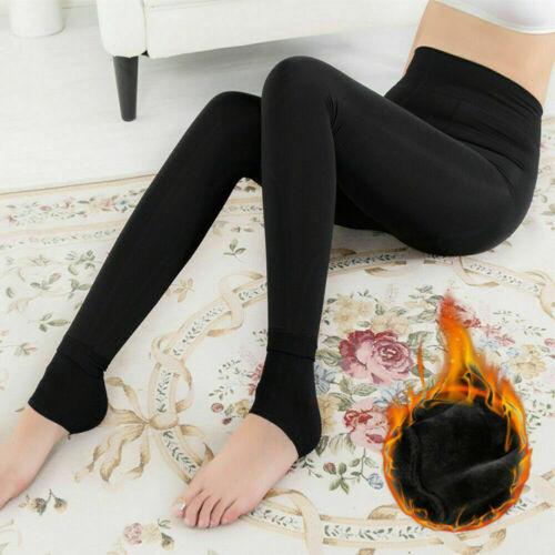 24 Femmes Très Chaud Thermique Hiver Noir épais fourrure doublée en polaire Legging Taille