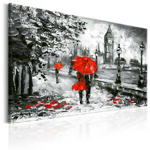 Leinwand Bilder xxl London Big Ben Regenschirm Wandbild Wohnzimmer ...
