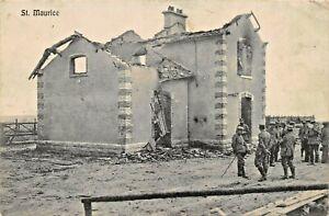 SAINT-MAURICE-FRANCE-WAR-DAMAGE-WW1-MILITARY-1915-FELDPOST-PHOTO-POSTCARD